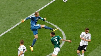 Germany goalkeeper Manuel Neuer clears outside the penalty box during the group F match between Germany and Mexico at the 2018 soccer World Cup in the Luzhniki Stadium in Moscow, Russia, Sunday, June 17, 2018. (AP Photo/Michael Probst)
