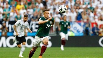 Mexico's Javier Hernandez runs with the ball during the group F match between Germany and Mexico at the 2018 soccer World Cup in the Luzhniki Stadium in Moscow, Russia, Sunday, June 17, 2018. (AP Photo/Antonio Calanni)