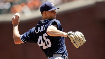 San Diego Padres starting pitcher Eric Lauer throws to the San Francisco Giants during the first inning a baseball game Sunday, June 24, 2018, in San Francisco. (AP Photo/Marcio Jose Sanchez)