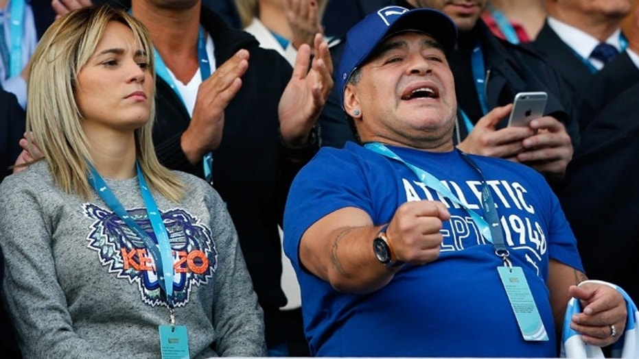 Diego Maradona is seen on the stand prior to the 2015 Rugby World Cup Pool C match between Argentina and Tonga in Leicester, United Kingdom, Oct. 4, 2015.