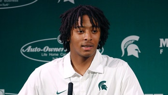 Michigan State redshirt freshman safety Jalen Watts-Jackson talks to the media Wednesday, Oct. 21, 2015, in East Lansing, Mich. Watts-Jackson talked publicly for the first time since his 38-yard fumble return in an NCAA college football game Saturday, Oct. 17 resulted in a touchdown as time expired to beat Michigan 27-23, and sent him to the hospital with a fractured and dislocated hip. (AP Photo/Al Goldis)