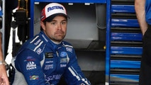 Ricky Stenhouse Jr., sits in his garage during a practice session for the NASCAR Cup Series auto race at Chicagoland Speedway in Joliet, Ill., Saturday, June 30, 2018. (AP Photo/Nam Y. Huh)