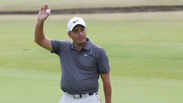 Francesco Molinari of Italy on the 18th hole after the final round for the 147th British Open Golf championships in Carnoustie, Scotland, Sunday, July 22, 2018. (AP Photo/Martin Cleaver)