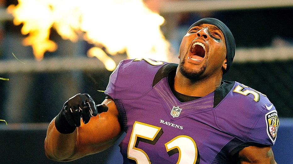 Baltimore Ravens player Ray Lewis reacts as he is introduced before an NFL preseason football game against the Detroit Lions in Baltimore, Aug. 17, 2012.