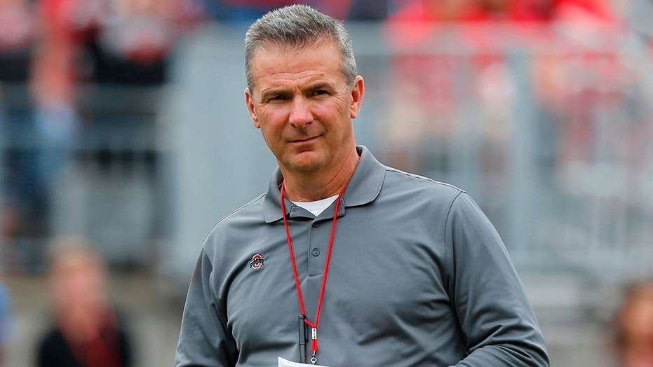 Ohio State football coach Urban Meyer in April. The university has placed Meyer on paid administrative leave while it investigates claims that his wife knew about allegations of abuse against an assistant coach years ago.