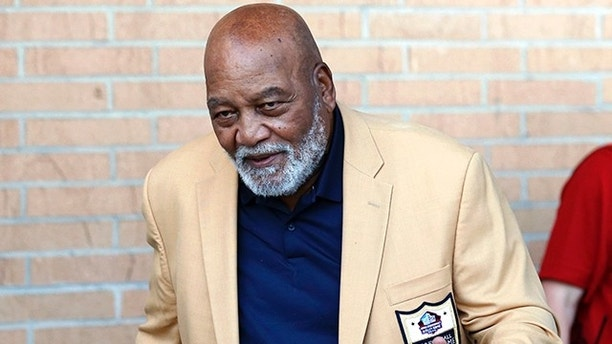 Former NFL player Jim Brown arrives for the inductions at the Pro Football Hall of Fame on Saturday, Aug. 4, 2018, in Canton, Ohio. (AP Photo/Ron Schwane)