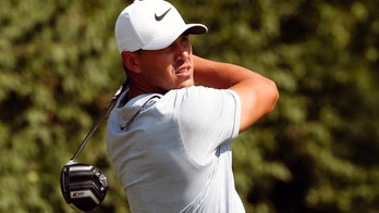 Brooks Koepka watches his drive on the ninth hole during the third round of the PGA Championship golf tournament at Bellerive Country Club, Saturday, Aug. 11, 2018, in St. Louis. (AP Photo/Jeff Roberson)