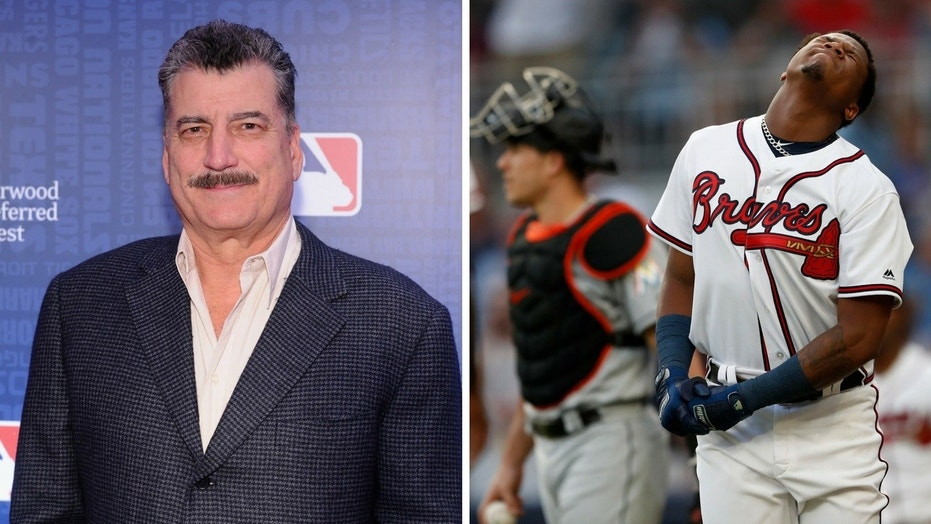 New York Mets broadcaster Keith Hernandez, left, was slammed after defending a Miami Marlins pitcher who hit Atlanta Braves player Ronald Acuna Jr. with a baseball.