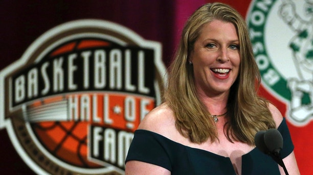 Katie Smith speaks during induction ceremonies into the Basketball Hall of Fame, Friday, Sept. 7, 2018, in Springfield, Mass. (AP Photo/Elise Amendola)