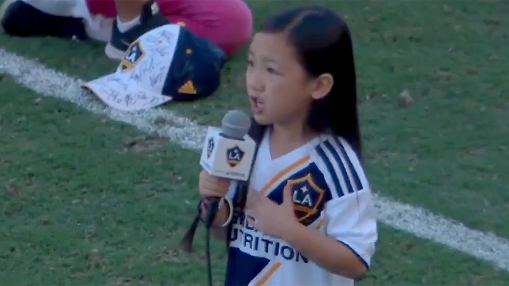 Girl, 7, belts out national anthem at LA Galaxy game in viral video