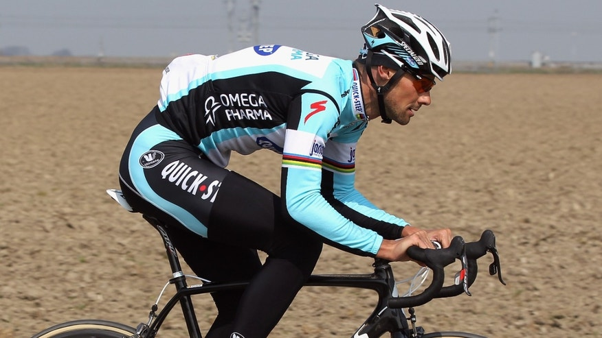 ROUBAIX, FRANCE - APRIL 06:  Pre-race favourite Tom Boonen of Belgium and Quick Step Omega Pharma rideso n the cobbles during training for the 2012 Paris - Roubaix Cycle Race on April 6, 2012 in Roubaix, France.  (Photo by Bryn Lennon/Getty Images)