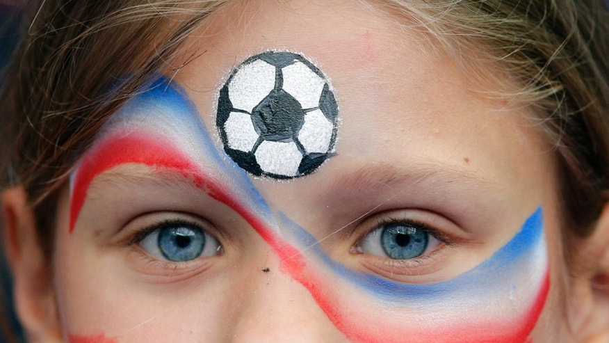 A French fan cheers players before the friendly soccer match between France and Norway at the Stade de France stadium in Saint Denis, outside Paris, Tuesday, May 27, 2014.  France are preparing for the upcoming soccer World Cup in Brazil starting on 12 June. (AP Photo/Christophe Ena)