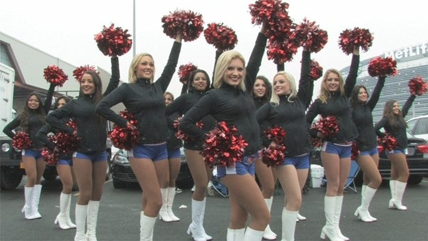 The Gotham City Cheerleaders perform for the tailgaters outside MetLife Stadium before a Giants game. (Courtesy Gotham City Cheerleaders)