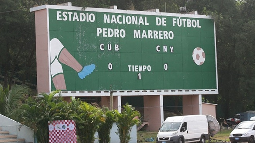The high-tech scoreboard at Estadio Pedro Marrero, where the Cosmos play the Cuban national soccer team on Tuesday. (Photo: Michael Lewis/Fox News Latino)