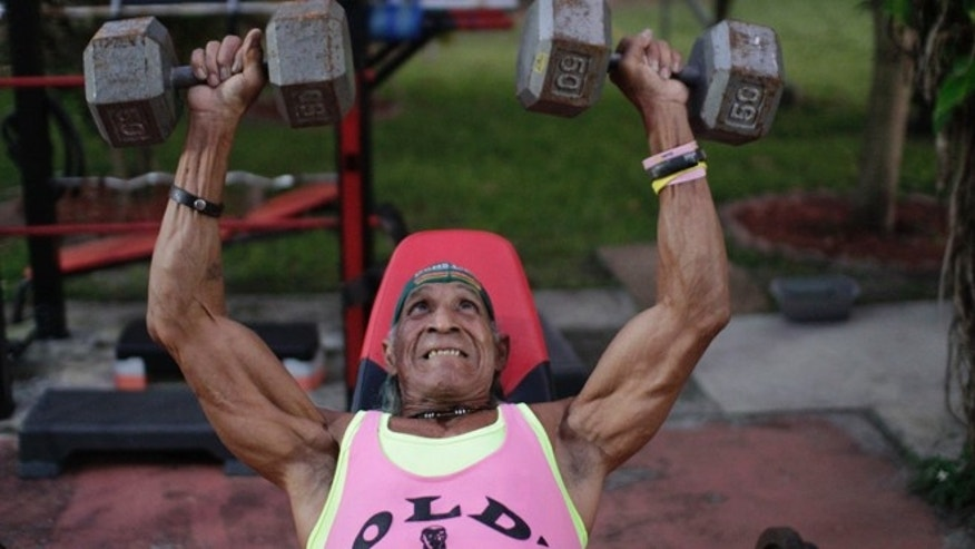 Cristobal Gutierrez, 71, incline bench presses 50 pounds for 15 reps per set. Gutierrez is a senior citizen competing in the bodybuilding scene in Miami. (Photo: Rodolfo Roman/Fox News Latino)
