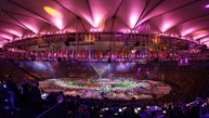 Artists perform during the closing ceremony in the Maracana stadium at the 2016 Summer Olympics in Rio de Janeiro, Brazil, Sunday, Aug. 21, 2016. (AP Photo/Chris Carlson)