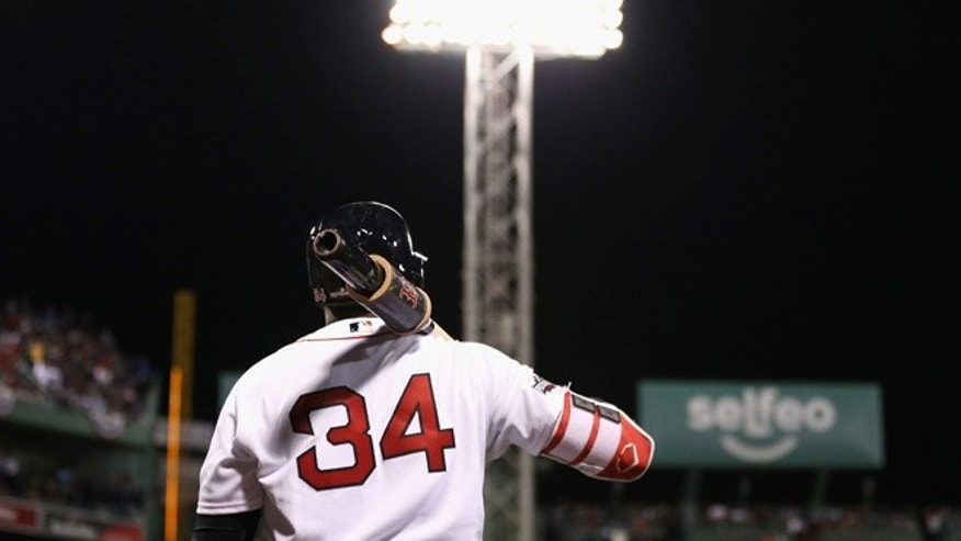 BOSTON, MA - OCTOBER 10:  David Ortiz #34 of the Boston Red Sox waits for his at-bat in the eighth inning against the Cleveland Indians during game three of the American League Divison Series at Fenway Park on October 10, 2016 in Boston, Massachusetts.  (Photo by Maddie Meyer/Getty Images)