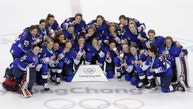 Untied States hockey team celebrate with their gold medals after beating Canada in the women's gold medal hockey game at the 2018 Winter Olympics in Gangneung, South Korea, Thursday, Feb. 22, 2018. (AP Photo/Matt Slocum)