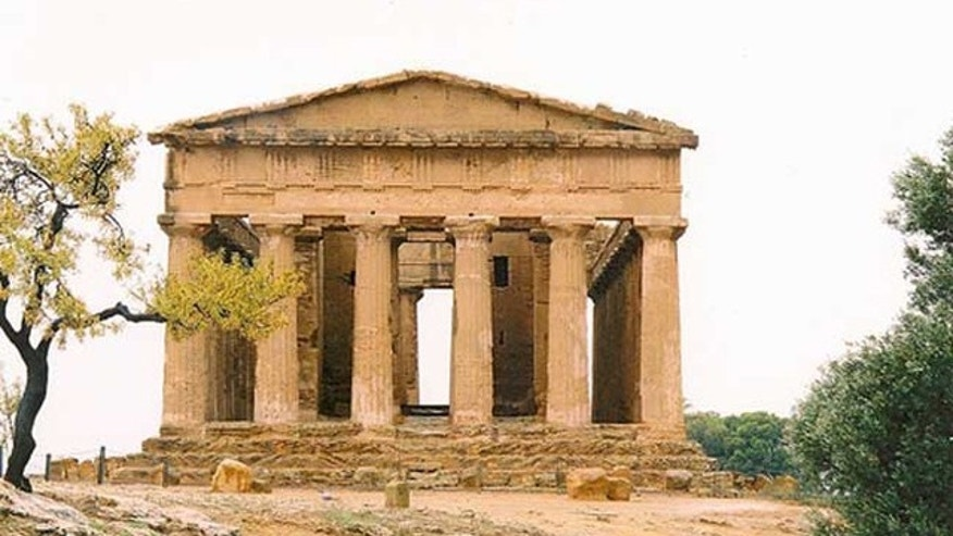 A Greek temple dating from the fifth century BC. It's more likely to have been dedicated to the Dioscuri (the Gemini twins) than Concord. Some researchers theorize that such temples on Sicily were built facing east as to adhere to Greek conventions.