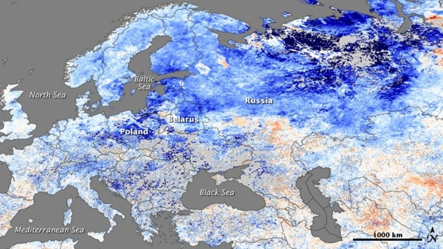 A wave of frigid air spilled down over Europe and Russia from the Arctic in mid-December, creating a deadly cold snap. Blue indicates temperatures as low as -20 Centigrade. What happened to global warming?