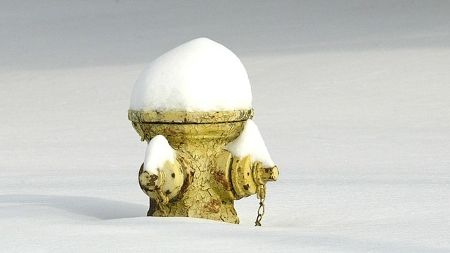 A fire hydrant pokes out from the snow in Kirksville, Mo. on Thursday Jan. 7, 2010 after an overnight storm.