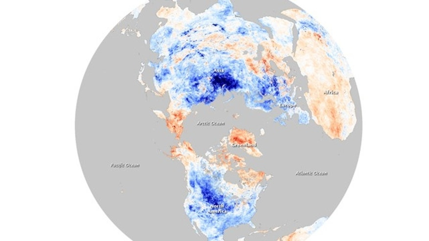 December temperatures compared to average December temps recorded between 2000 and 2008. Blue points to colder than average land surface temperatures, while red indicates warmer temperatures.