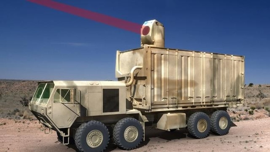 An artist's conception of a mobile laser weapon Boeing is developing for the U.S. Army. Mounted in an Osh Kosh armored vehicle, the weapon will enable the military to fight at the speed of light.