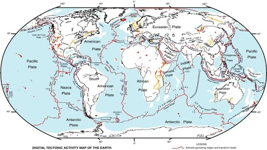 A map of world tectonic activity. Red lines are plate boundaries, arrows indicate spread rate and direction, red dots are active volcanic centers and yellow lines indicate faults or rifts.