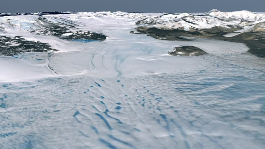 A satellite image of the Koettlitz Glacer in Antarctica.