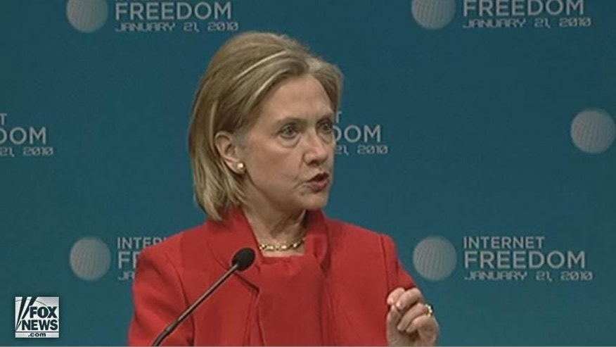 Hillary Rodham Clinton address the need for Internet freedom, following accustions from Google that Chinese hackers had broken into its Gmail e-mail accounts.