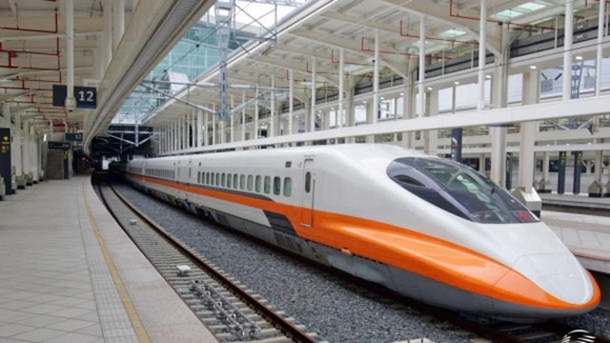 One of Taiwan's high-speed trains, capable of travelling at nearly 200 mph.