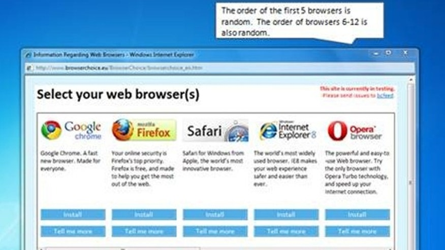to comply with anti-trust regulation, European users of Windows XP, Vista or 7 will soon start seeing this screen, asking them if they want to switch Web browsers.