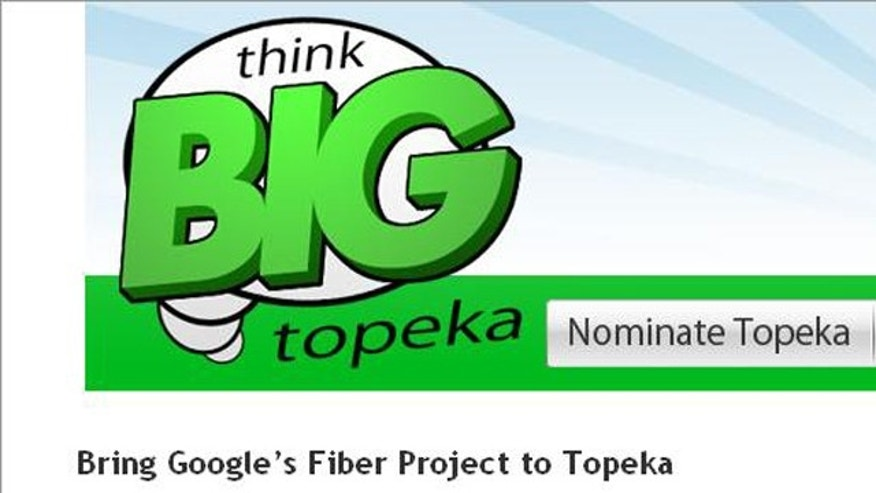 A screen capture of the ThinkBigTopeka site, which argues for the Kansas city as a testbed for Google's superfast new Interent service.