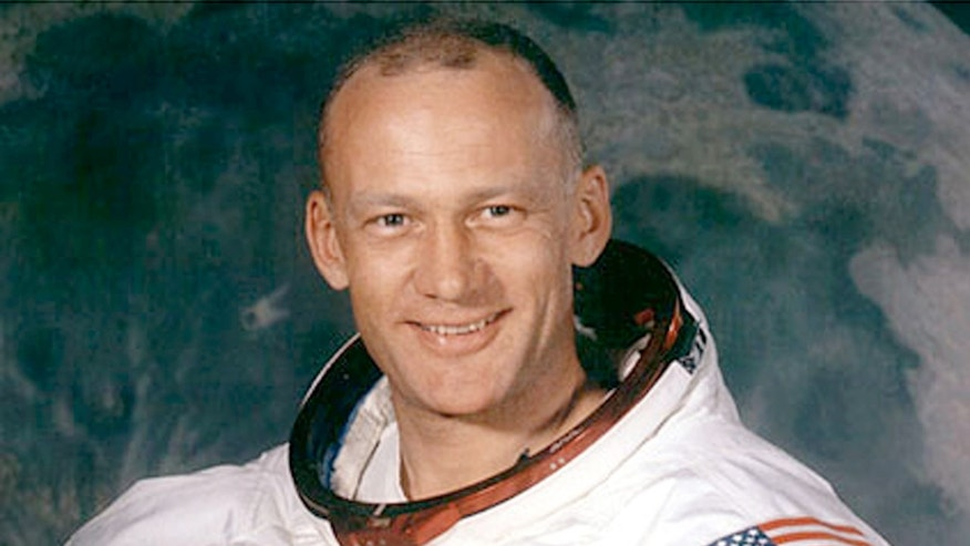 A headshot of astronaut Buzz Aldrin (Edwin Eugene Aldrin, Jr.), the second person to set foot on the moon.