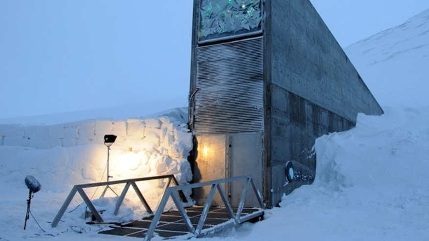 The front entrance of the Global Seed Vault in Norway.