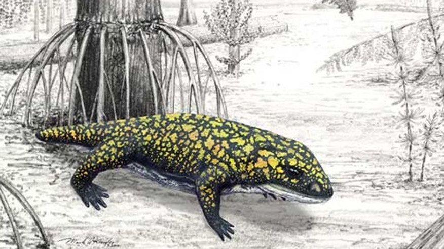 An illustration of Fedexia striegeli in the environment of the Pennsylvanian Period (300 million years ago).
