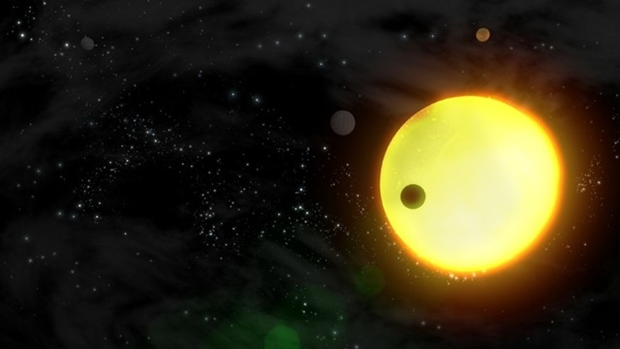 An artist's impression of an exoplanet orbiting a star.
