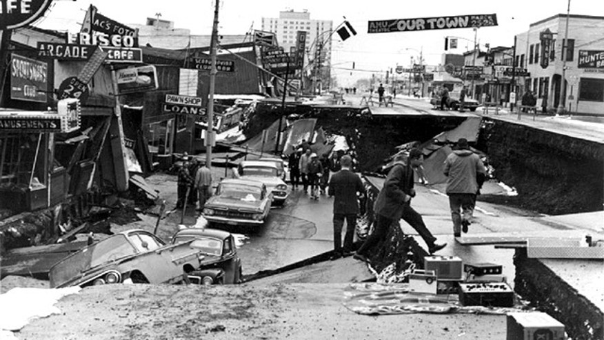Damage to Fourth Avenue in Anchorage, Alaska, caused by the magnitude 9.2 Good Friday Earthquake in 1964.