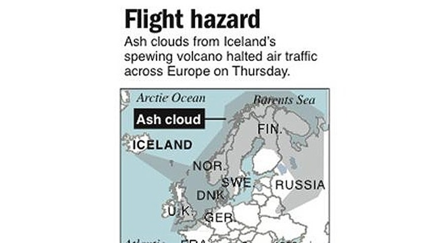 Map show spread of ash clouds from Icelandic volcano that has caused aviation concerns in Europe.