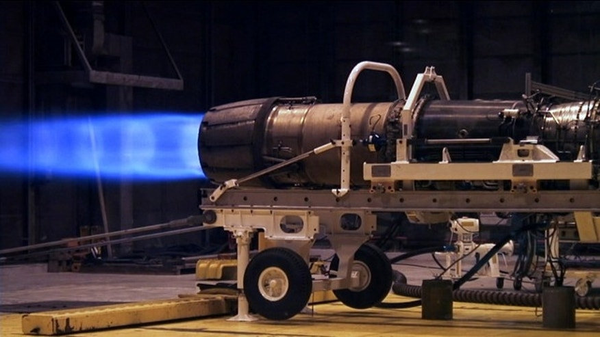 An F404 engine from an F/A-18 runs on biofuel in a Naval Air Systems Command test at the Aircraft Test and Evaluation Facility, Patuxent River, Md.