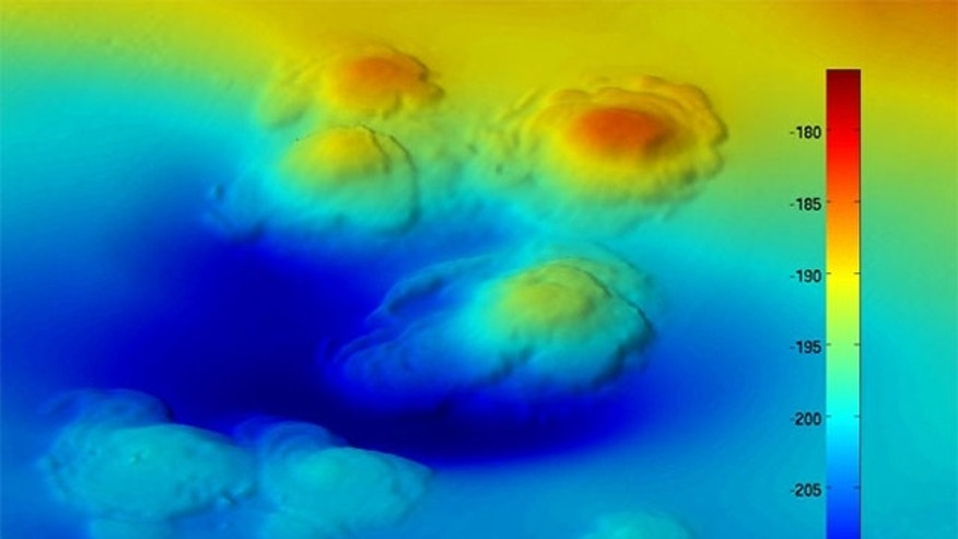 High-resolution bathymetry shows extinct asphalt volcanoes on the seafloor off California, which were recently discovered. Bar chart indicates depth.