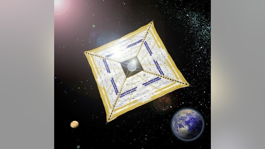 April 27: A handout graphic designed image released from the Japan Aerospace Exploration Agency (JAXA) shows what the Japanese satellite Ikaros might look like in space.