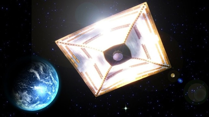 An artist's illustration of the IKAROS solar sail concept, with solar panels deployed to capture the pressure of the sun's rays for propulsion.
