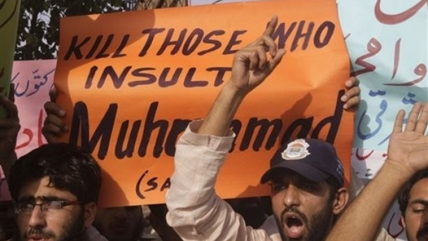 May 19: Pakistani students demonstrate against the 'Everybody Draw Mohammed Day' page on Facebook, in Lahore.