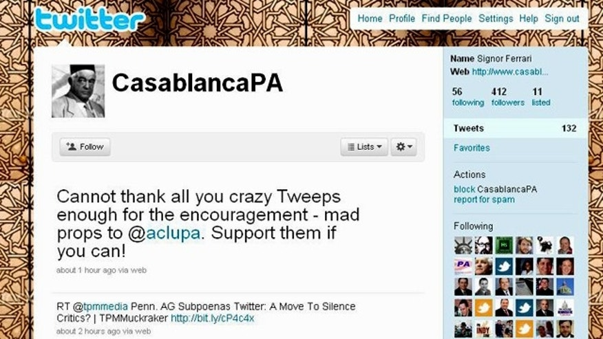 A screenshot of the Twitter feed for CasablancaPA, a user whose privacy is being defended by the ACLU from efforts by the Pennsylvania attorney general.