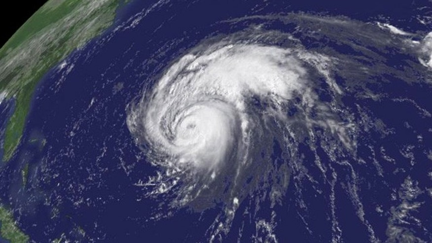 Hurricane Bill hovers 820 miles southeast of Cape Hatteras, North Carolina, on August 21, 2009. Bill was a category 3 hurricane with 115 MPH winds at the time.