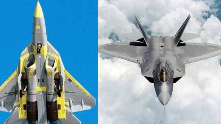 A side-by-side comparison of Russia's new T-50 fighter jet and the U.S. military's F-22 Raptor.