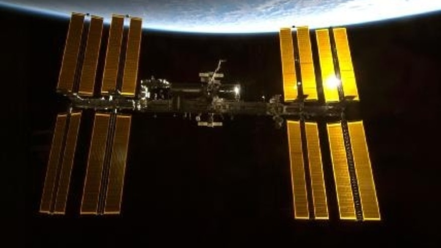 Backdropped by Earth's horizon and the blackness of space, the International Space Station was photographed by an STS-130 crew member aboard the Endeavour during rendezvous and docking activities.