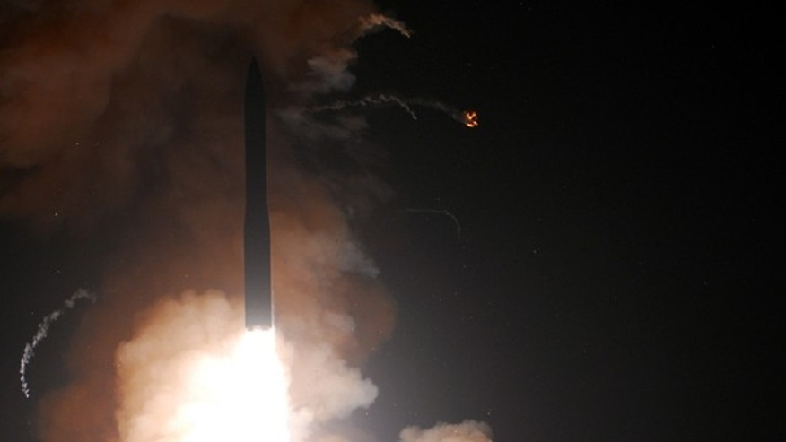 Ascending into space, a Minuteman III intercontinental ballistic missile successfully launched at 3:01 a.m., Wednesday, June 16 from Vandenberg's Launch Facility-10.