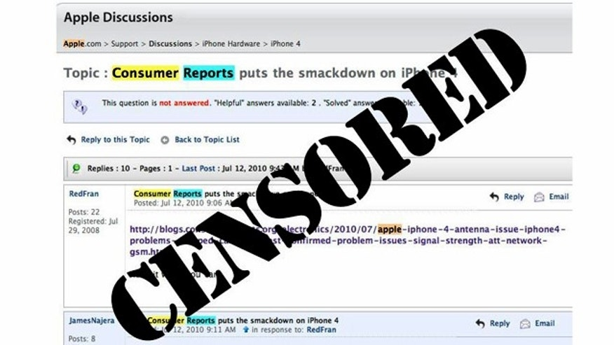 Apple has been censoring discussions of a Consumer Reports review that pans the Apple iPhone 4 due to antenna reception issues, but the deleted threads are still visible on the Bing.com. search engine